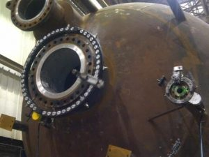 Dual MTI Flange Facers on Large Pressure Vessel
